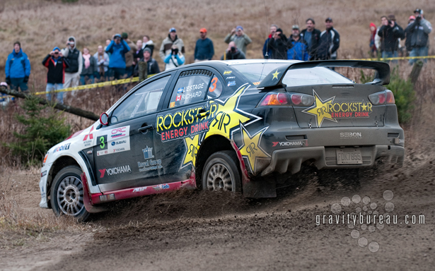 Wallpaper of Antoine L'Estage sideways at Tall Pines Rally
