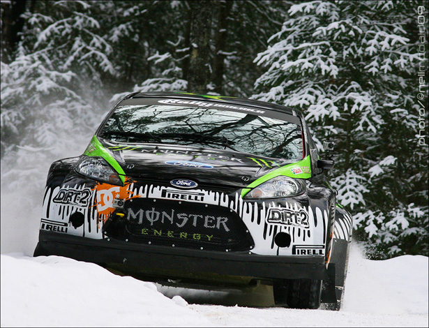 Ken Block cutting a corner in his rally-prepped Ford Fiesta - ©Neil McDaid