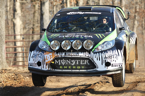 Ken Block & Alex Gelsomino flying high in a 2009 Ford Fiesta rally car - ©Arthur Partyka