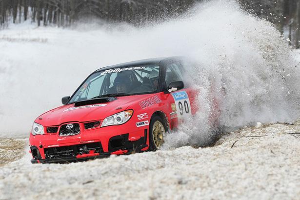 Lauchlin O'Sullivan & Scott Putnam sideways in a 2007 Subaru WRX-STI - ©Arthur Partyka