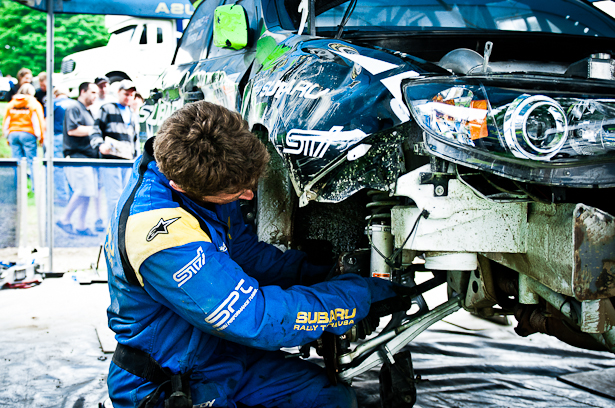 SRT USA mechanic repairing Dave Mirra's 2011 Subaru Impreza WRX STI after a roll-over - ©Peter Calak, Gravity Bureau Inc.
