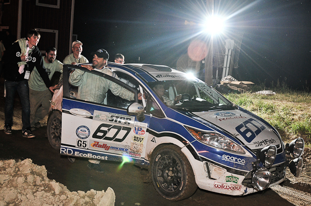 Dillon Van Way & Jake Blattner pushing their 2011 Ford Fiesta at the 2011 STPR finish - ©Peter Calak, Gravity Bureau Inc.